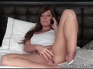 Two sexy lesbian babes having horny phone sex
