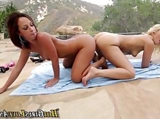 Lesbians share ass dildo