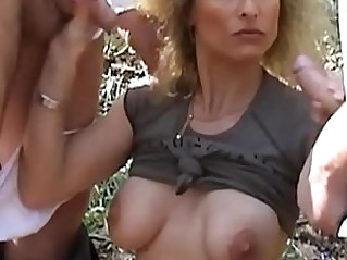 Lesbians in public with toys before dogging gangbang in forest
