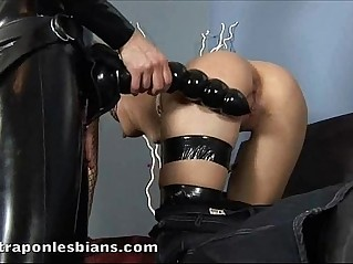 Role playing lesbians undress and fuck with a huge strapon dildo