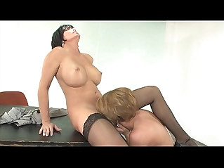 Hot busty chicks destiny porter shay fox suck each others juices in an office room